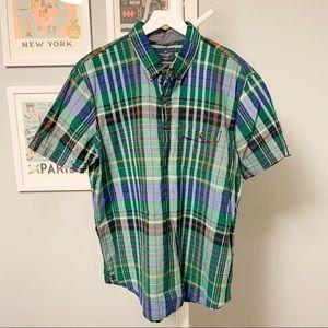 American Eagle Plaid Popover Short Sleeve Shirt